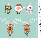 set of cute christmas character.... | Shutterstock .eps vector #342186218