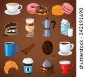 colorful coffee vector icons... | Shutterstock .eps vector #342191690