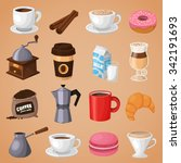 colorful coffee vector icons... | Shutterstock .eps vector #342191693