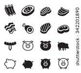 pig   pork icons set vector... | Shutterstock .eps vector #342201890