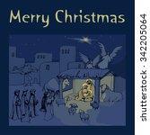 christmas card.holy family. | Shutterstock .eps vector #342205064