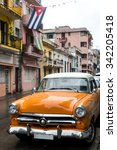 street scene with old car on... | Shutterstock . vector #342205418