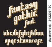 fantasy gothic font. retro... | Shutterstock .eps vector #342209450