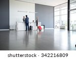 Stock photo passengers departing from business trip at hotel reception 342216809