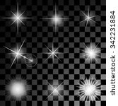 set of nine sparkles on an... | Shutterstock .eps vector #342231884