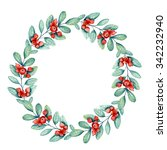 christmas floral wreath.... | Shutterstock . vector #342232940
