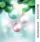 christmas background with fir... | Shutterstock .eps vector #342233708