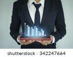businessman holding tablet...   Shutterstock . vector #342247664