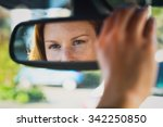 a young female car driver... | Shutterstock . vector #342250850