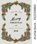 vintage christmas frame with... | Shutterstock .eps vector #342250883