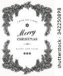 vintage christmas frame with... | Shutterstock .eps vector #342250898