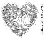 Heart shape black and white  ornament of seashells, starfish, seaweed with sailboat, could be use  for coloring book  in zentangle style.