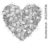 heart shape black and white ... | Shutterstock .eps vector #342254936