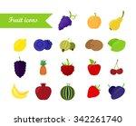 fruit icon set. flat design....   Shutterstock .eps vector #342261740