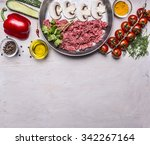 Raw Minced Meat With Mushrooms...