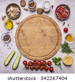 cutting board  around lie... | Shutterstock . vector #342267404