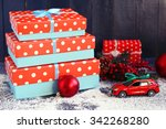 christmas gifts on color wooden ... | Shutterstock . vector #342268280
