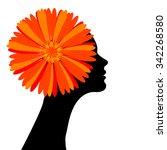 beautiful girl with flower in... | Shutterstock . vector #342268580