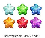 set of crystal stars  colorful...