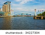 Manchaster Canal with Millennium Bridge - stock photo