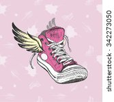 vintage sneakers with wings ... | Shutterstock .eps vector #342273050