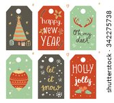 christmas gift tags with... | Shutterstock .eps vector #342275738