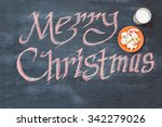 christmas vintage chalk text... | Shutterstock . vector #342279026