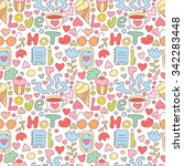 cute doodle seamless pattern... | Shutterstock .eps vector #342283448