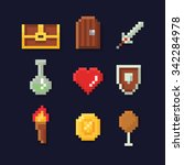 Vector pixel art illustration isons for fantasy adventure game development, magic, sword, food, chest, coin, | Shutterstock vector #342284978