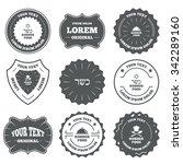 vintage emblems  labels. kosher ... | Shutterstock . vector #342289160