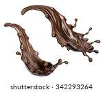 chocolate splashes set ... | Shutterstock . vector #342293264