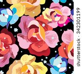 bright floral pattern on a... | Shutterstock .eps vector #342301199