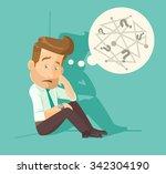 confused employee. vector flat... | Shutterstock .eps vector #342304190