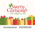 christmas gifts in boxes. | Shutterstock .eps vector #342305630