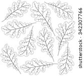 contoured oak leaves | Shutterstock .eps vector #342307766