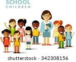 multicultural school children... | Shutterstock .eps vector #342308156