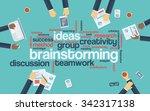 brainstorming word tag cloud... | Shutterstock .eps vector #342317138