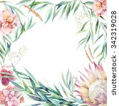 Watercolor Floral Frame Card....