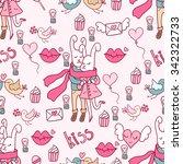 valentine's day doodles.... | Shutterstock .eps vector #342322733