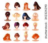 beautiful young women faces... | Shutterstock .eps vector #342324290