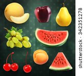 summer fruits  set of vector... | Shutterstock .eps vector #342351278