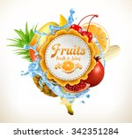 fruits vector label | Shutterstock .eps vector #342351284