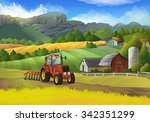 farm rural landscape  vector... | Shutterstock .eps vector #342351299