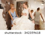 a bride to be trying on a... | Shutterstock . vector #342359618