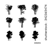 set of tree silhouettes. vector ... | Shutterstock .eps vector #342365474