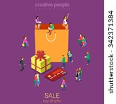 sale shopping bag flat 3d... | Shutterstock .eps vector #342371384