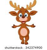 cartoon deer presenting | Shutterstock .eps vector #342374900