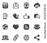 trendy social network icons set ... | Shutterstock .eps vector #342376913