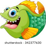 cartoon of green piranha | Shutterstock .eps vector #342377630