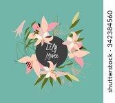 floral lily retro vintage... | Shutterstock .eps vector #342384560
